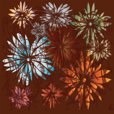 pleasing: Brown background with flowers, vector EPS10, illustration Illustration
