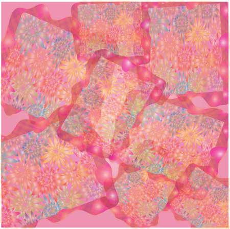 gentile: Frames with floral background, illustration, postcard
