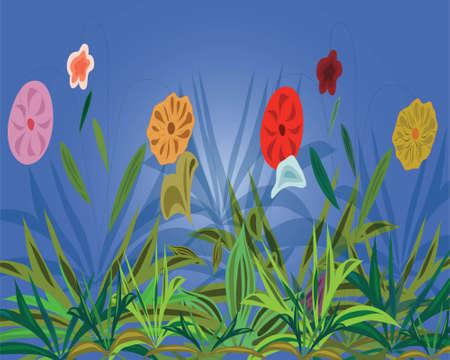 varicoloured: Fondo azul con flores multicolores