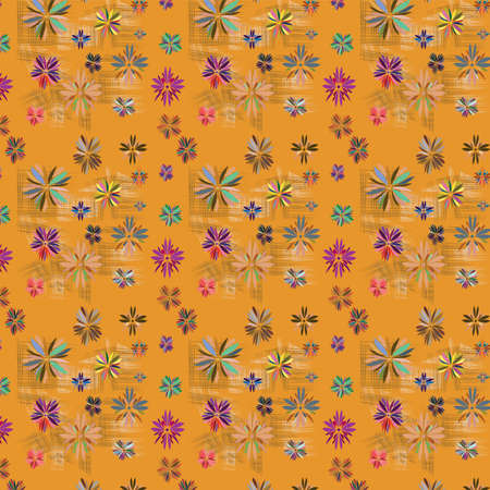 Seamless texture with flowers and abstract geometric figure, illustration Vector