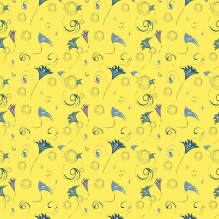 gentile: Seamless texture with flowers and other elements, vector, illustration