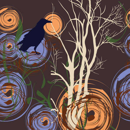 Abstract background with tree and crow, illustration Vector