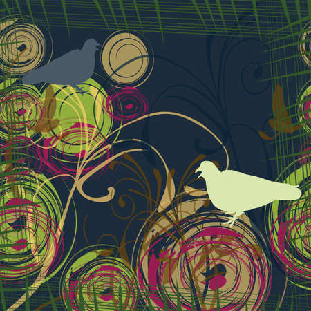 Abstract background with two doves, illustration Vector