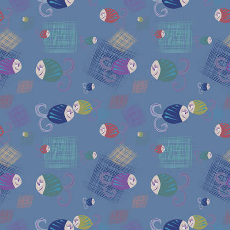varicoloured: Seamless background with smiling fishes and squares, illustration Illustration
