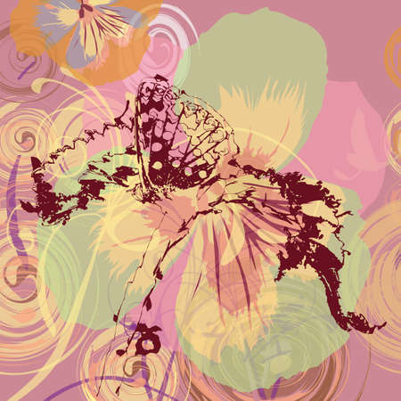 Butterfly on floral background, vector, illustration Vector