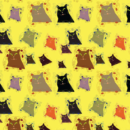 Seamless background with varicoloured cats, vector, illustration Vector