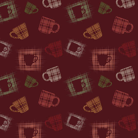 Seamless background with cups, vector, illustration Vector