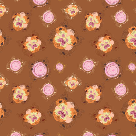 gentile: Original seamless background with flowers and circles, vector, illustration