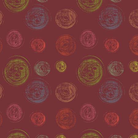 threadbare: Abstract background senza soluzione di continuit� con i cerchi varicoloured, illustrazione Vettoriali
