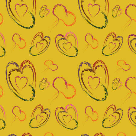 varicoloured: De fondo sin fisuras con multicolores corazones abstractos, ilustraci�n Vectores