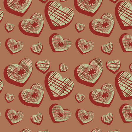Seamless background with original hearts, vector, illustration Stock Vector - 12969362
