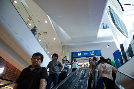 BANGKOK,THAILAND - 3 JULY 2014  People in Terminal 21 ,one of the big shopping mall on 3 July 2014 , Bangkok, Thailand