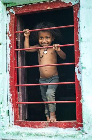gaya: GAYA,INDIA 13 MAY 2014 - Indian girl in slum of Gaya city on  13 May 2014 Editorial