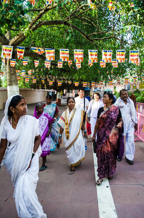 GAYA ,INDIA - MAY 13  Unknown People around Mahabodhigay Temple  on May 13, 2014 in Gaya  India