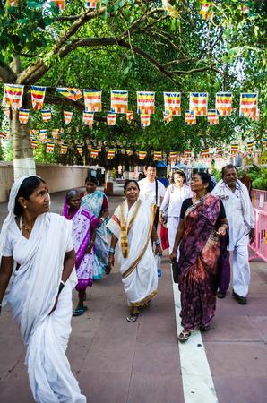 gaya: GAYA ,INDIA - MAY 13  Unknown People around Mahabodhigay Temple  on May 13, 2014 in Gaya  India