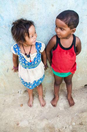 GAYA,INDIA 13 MAY 2014 - Unknow Indian children in slum of Gaya City  on 11 May 2014