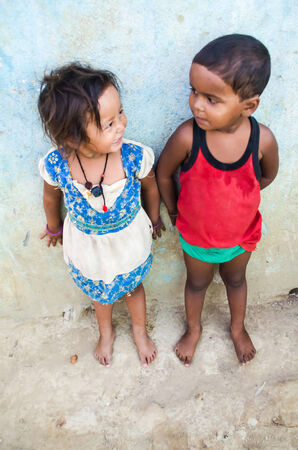 gaya: GAYA,INDIA 13 MAY 2014 - Unknow Indian children in slum of Gaya City  on 11 May 2014