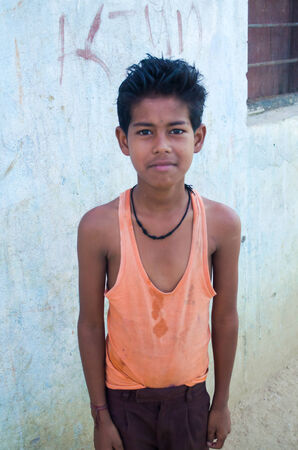 GAYA,INDIA 13 MAY 2014 - Unknow Indian male in slum of Gaya City  on 11 May 2014