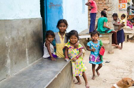 GAYA,INDIA 10 MAY 2014 - Unknow Indian children in slum of Gaya City  on 10 May 2014