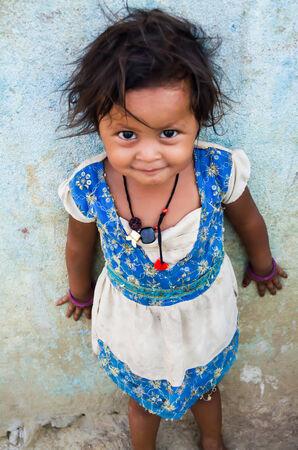 GAYA,INDIA 13 MAY 2014 - Unknow Indian girl in slum of Gaya City  on 11 May 2014