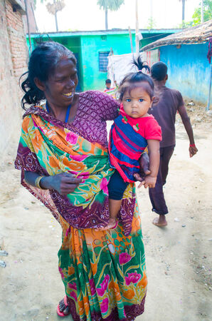 GAYA,INDIA 13 MAY 2014 - Unknow Indian people  in slum of Gaya City  on 11 May 2014