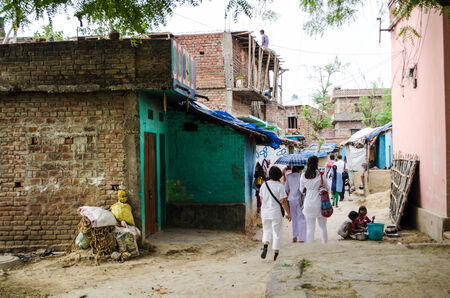 gaya: GAYA,INDIA 13 MAY 2014 - Unknow people around slum of Gaya City  on 13 May 2014