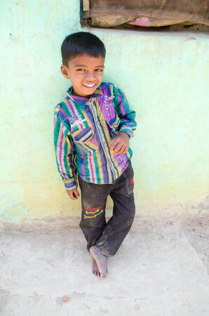 gaya: GAYA,INDIA 13 MAY 2014 - Unknow Indian child in slum of Gaya City smile on 11 May 2014