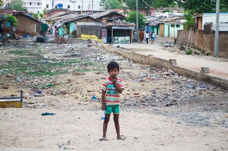 GAYA,INDIA 13 MAY 2014 - Unknow Indian child in slum of Gaya City  on 11 May 2014
