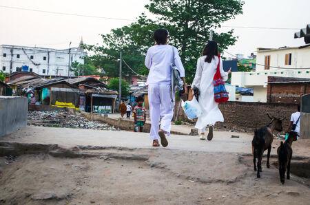 GAYA,INDIA 13 MAY 2014 - Unknow Asian people in slum of Gaya City  on 11 May 2014