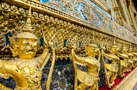 king palace: golden staute of Garuda right side at Emerald Buddha temple, King palace, thailand