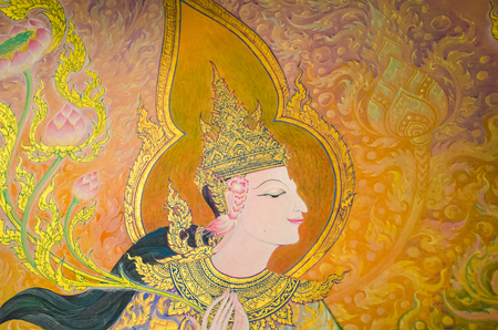 exquisite fairy: BANGKOK ,THAILAND - 9 JULY 2014 : masterpiece of traditional Thai mural  style paintingin on the wall of church of Wat Rama 9 Kanchana Pisek Buddhism Temple Bangkok Thailand Editorial
