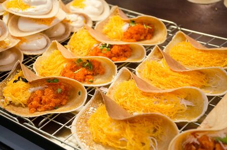 Thai  tradition crispy crepe as desserts with coconut milk and egg Stok Fotoğraf