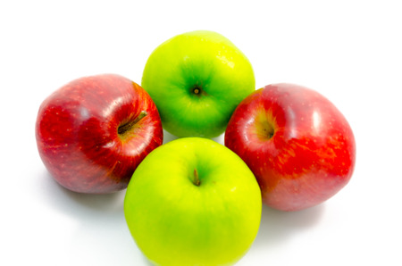 Green and red apple on white background isolated photo