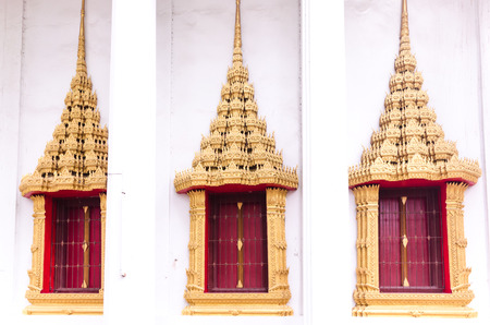 Windows exterior in Buddhsim temple at Wat Mahaeyong Nakhon Si Thammarat , South province of Thailand photo