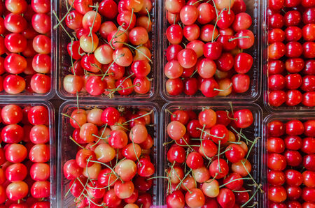 Red cherries on plastic box in the market