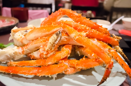 fine legs: Big Japanese giant crab  on white plate Stock Photo