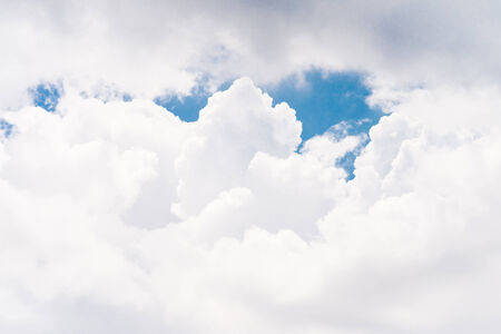 White clouds with blue sky in sunny day photo