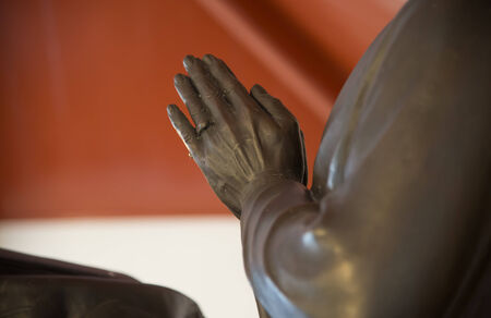 peron: Hand of peron statue in action of  put the palms of the hands together in Buddhism Asian salute