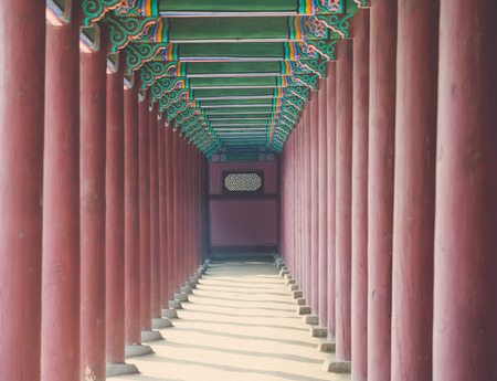 historic place: Row of  Poles around Exterior of Gyeongbokgung , famous historic place in South Korea