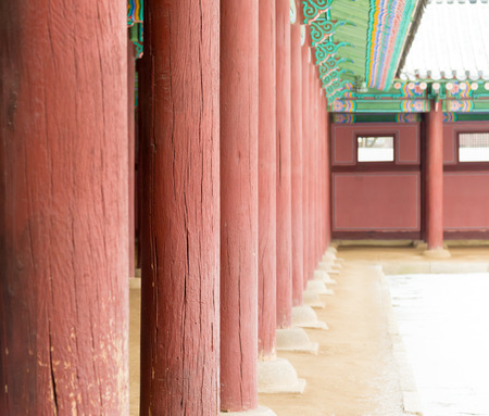 historic place: Row of Poles inside  Gyeongbokgung Palace , Famous historic place in Seoul South Korean
