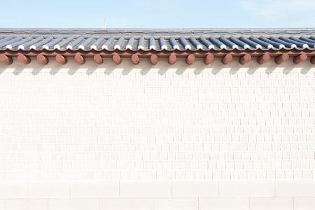 Muur van Gyeongbokgung paleis in Seoul, Zuid-Korea Stockfoto