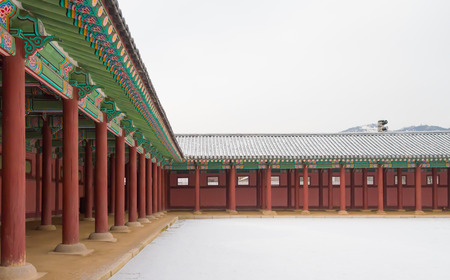 historic place: Gyeongbokgung Palace , Famous historic place in winter with snow in Seoul South Korean Editorial