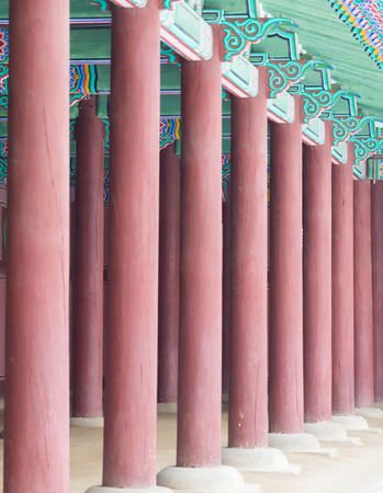 historic place: Row of Poles closeup inside  Gyeongbokgung Palace , Famous historic place in Seoul South Korean Editorial