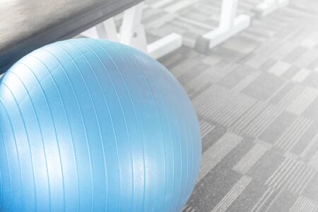 fitball: Blue gym fit-ball split tone Stock Photo