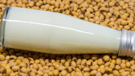 lied: Soy milk bottle lied on soy beans background