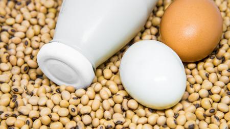 leche de soya: Fuente de proteína vegetariana: La leche de soja, huevos cocidos en semillas de soja fondo Foto de archivo