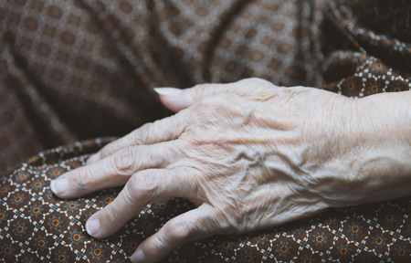 seniority: Asian old woman s hand closeup look like old image Stock Photo