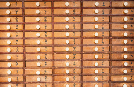 febuary: Asakusa , Japan  - Febuary 3 ,2015 :   Wooden locker in Japanese shinto temple background vintage