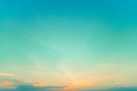Twilight gradient  sky  on sunset time  with orange and aqua-blue color Stock Photo