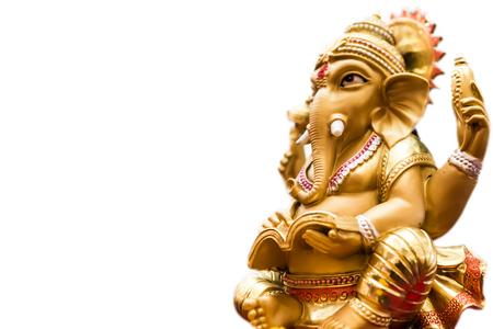 ganapati: Yellow rasin Ganesh Elephant god  in Hindu mythology statue side view isolated on white background Stock Photo